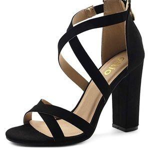 OLLIO Cross Strap Zip Up high heel